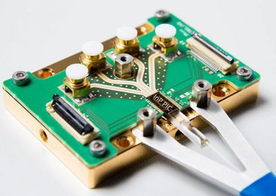 indium phosphide photonics chip packaged into a module with RF electrical connectivity